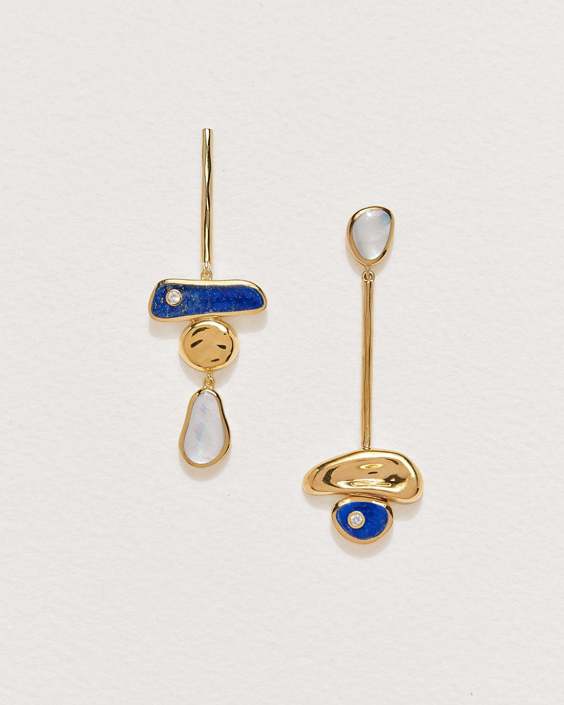 pendulum earrings with lapis, mother of pearl and gold plate