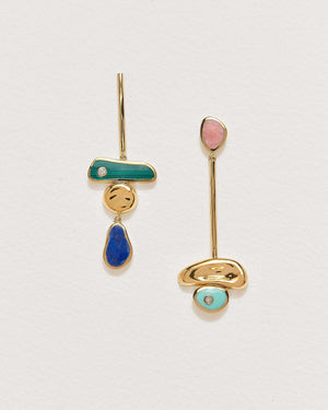 pendulum earrings with malachite, pink opal, lapis and turquoise