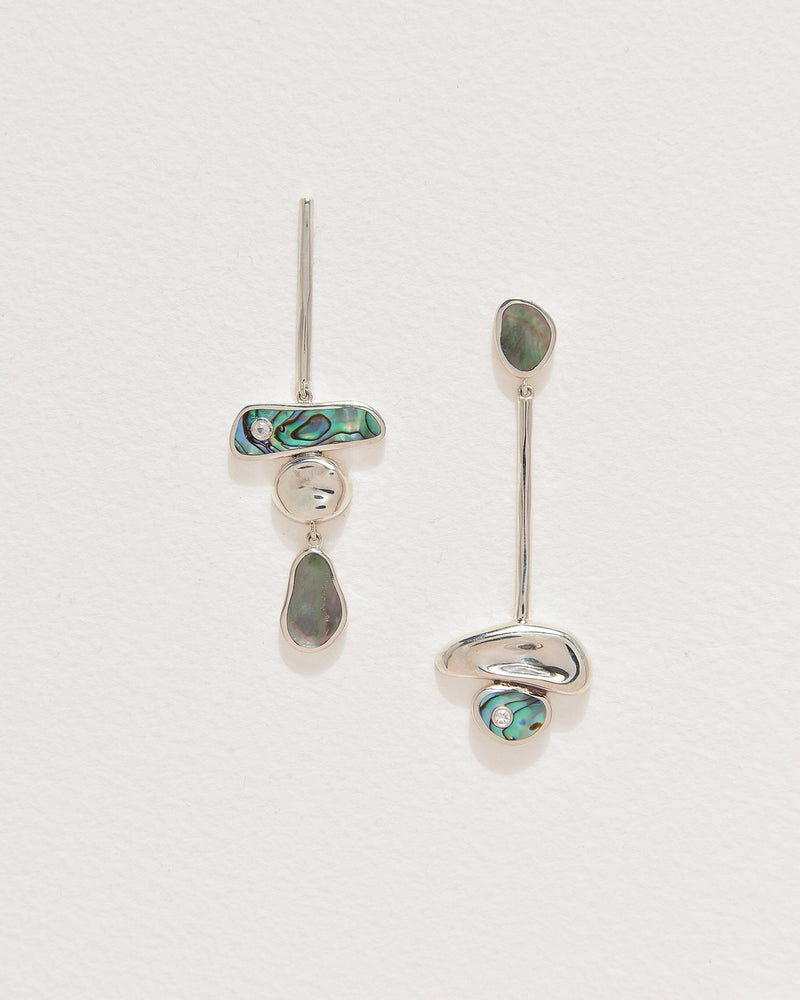 pendulum earrings with abalone, grey mother of pearl and silver