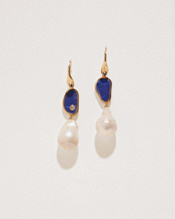 hilma earrings with gold, lapis and pearl