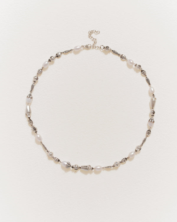 mythologie collar necklace with sterling silver and pearls