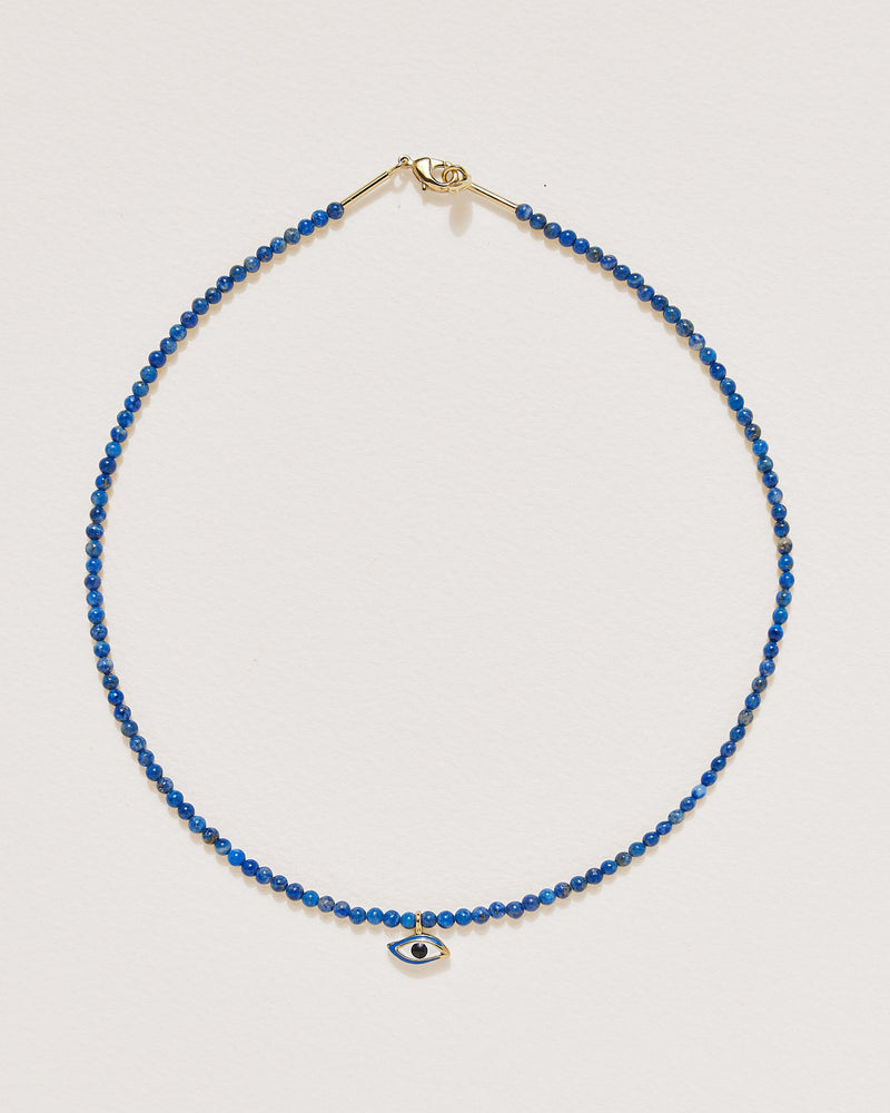 beaded eye necklace with lapis and 14k gold plate
