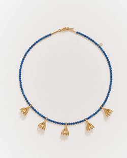 anemone lapis necklace with 14k yellow gold plate