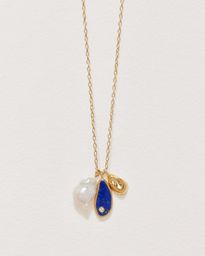 pilar charm necklace with lapis, gold plate and pearl