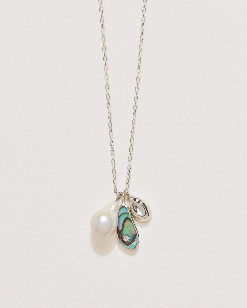 pilar charm necklace with abalone, silver and pearl