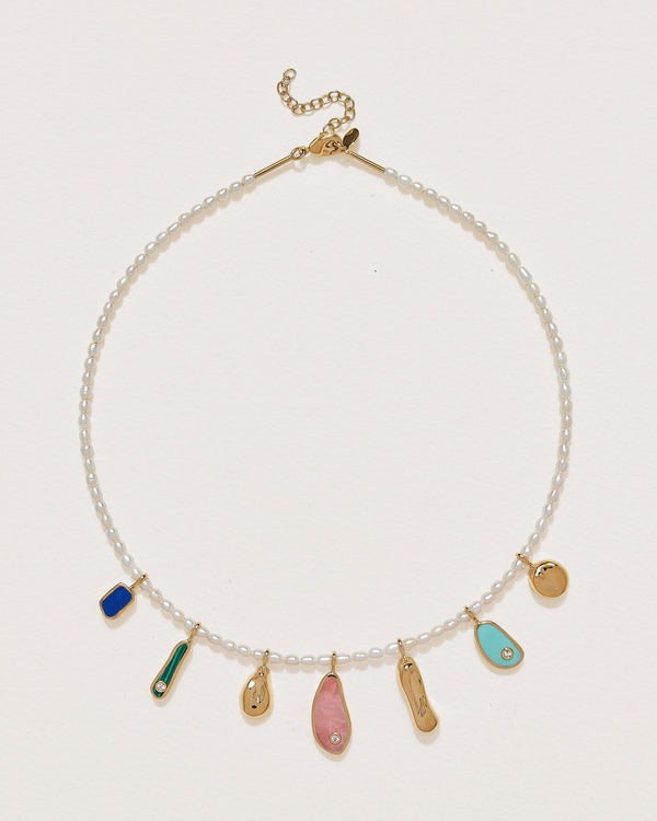 alexander necklace with pink opal, lapis, turquoise, malachite and pearls