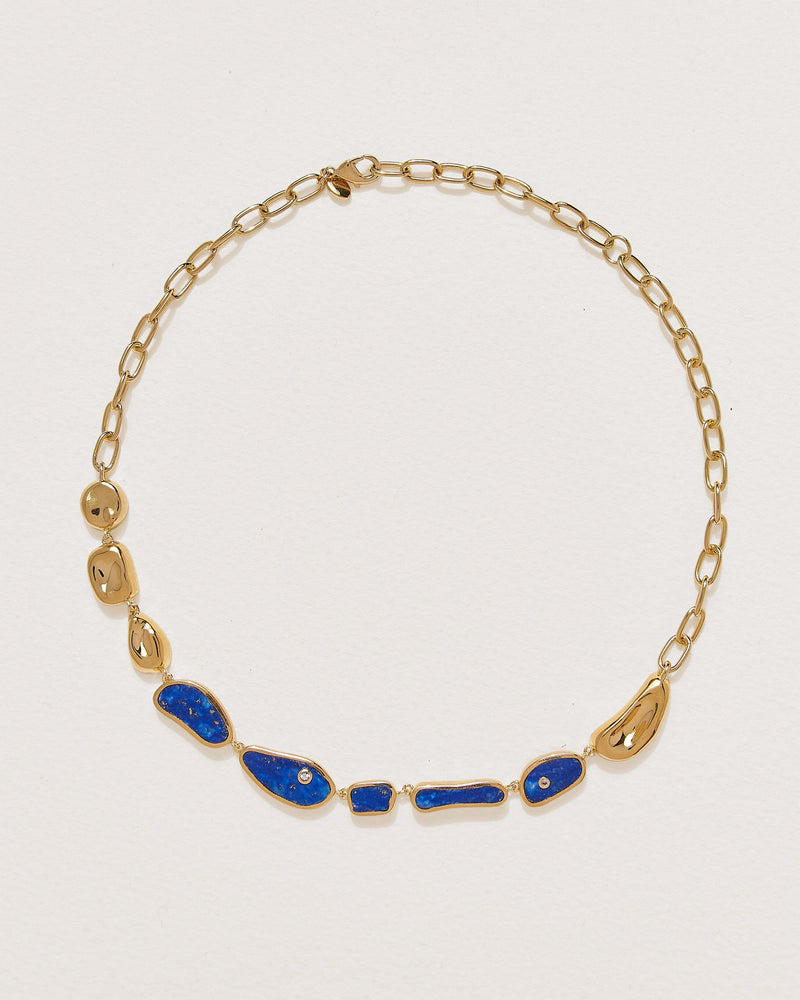 lapis lazuli collar necklace with white corundum