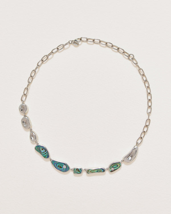 abalone silver collar necklace