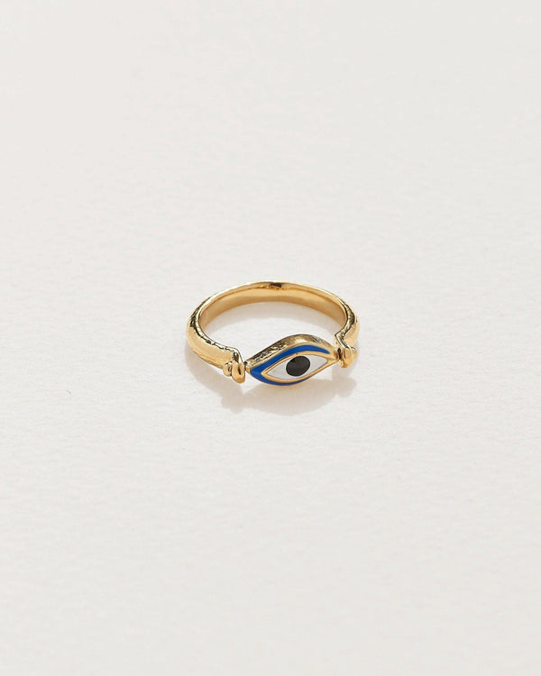 enamel eye ring with 14k gold plate