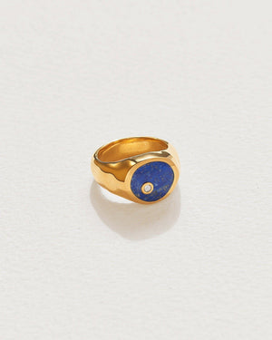 alexander signet ring with lapis and gold plate