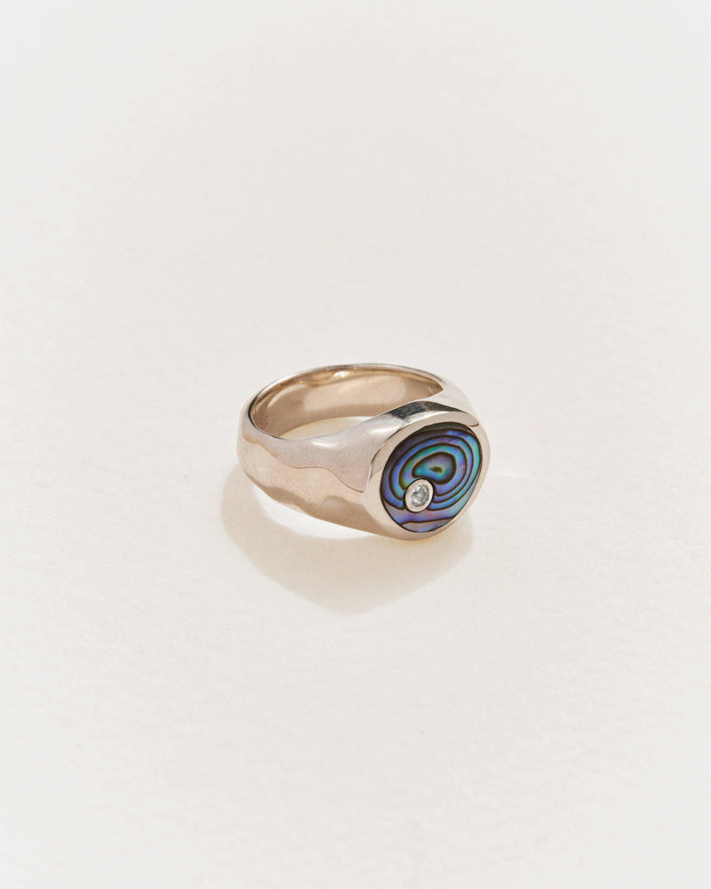 alexander signet ring with abalone and silver