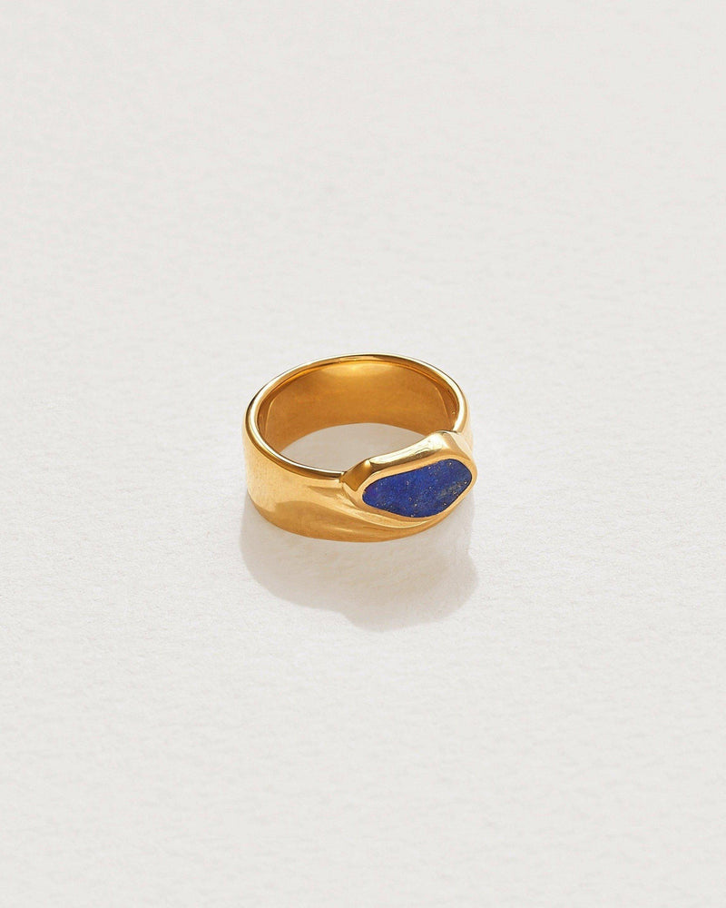 14k gold plate palma cigar ring with lapis