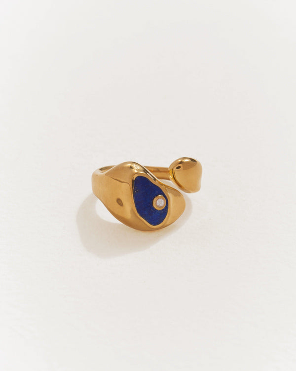 14k gold plate hilma ring with lapis