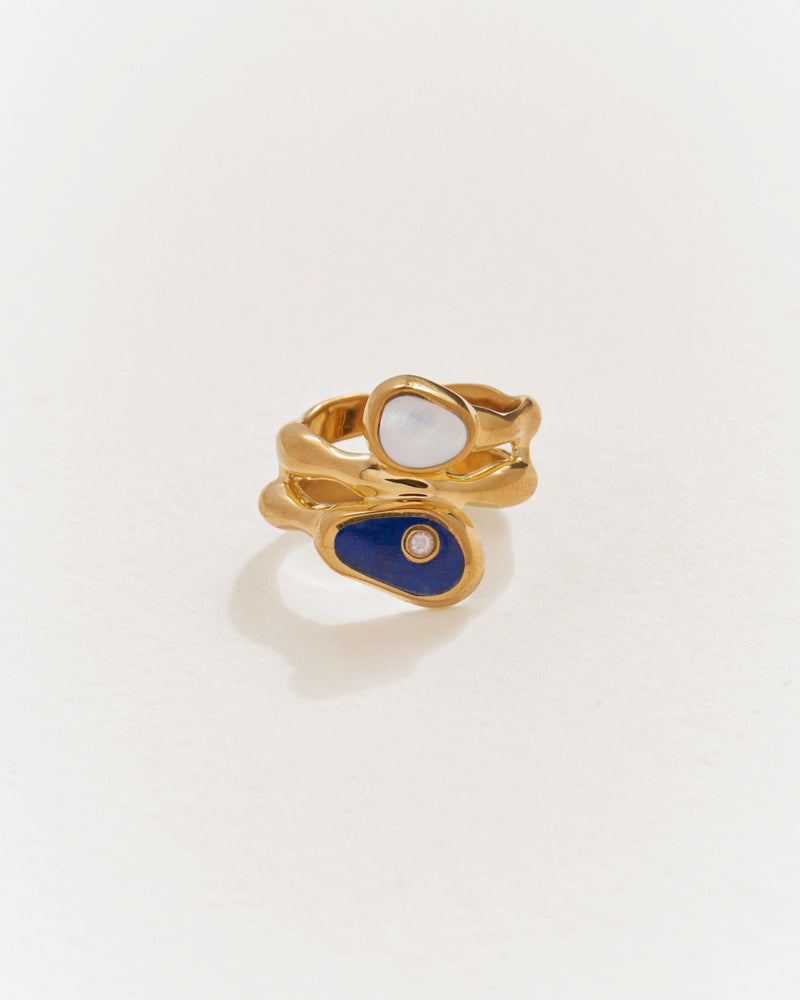 francesca ring with lapis and pearl