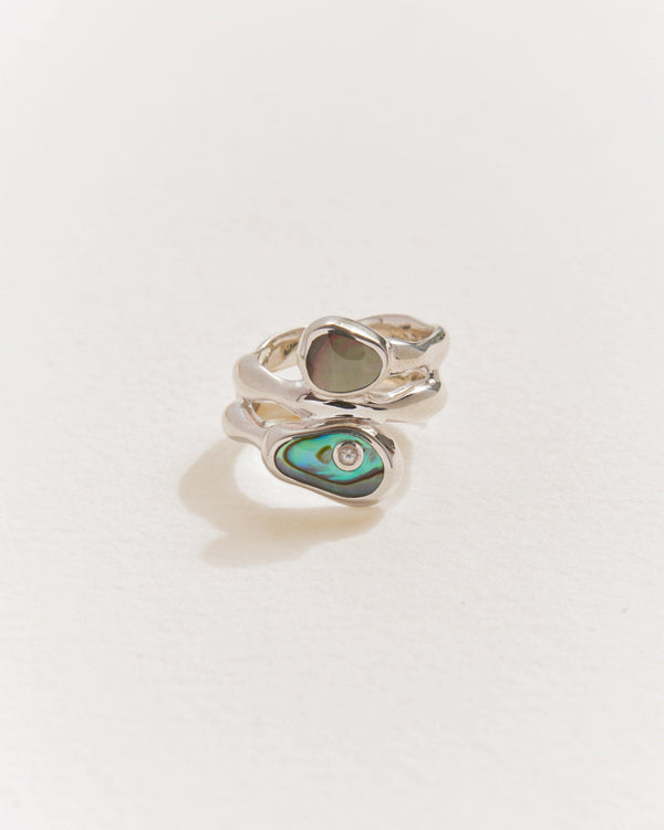 silver francesca ring with abalone and pearl