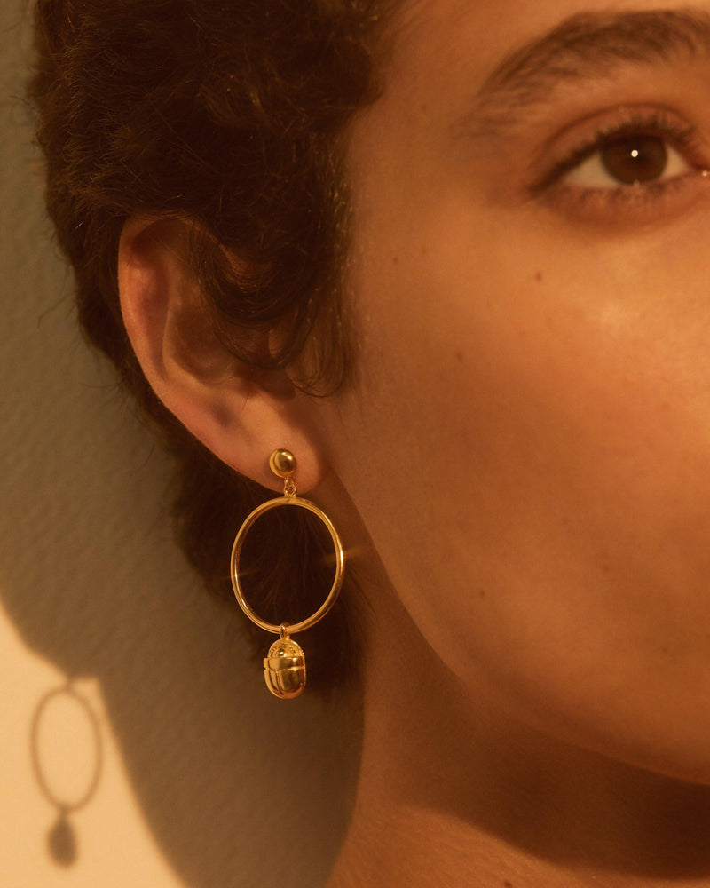 Scarab Circle Earring