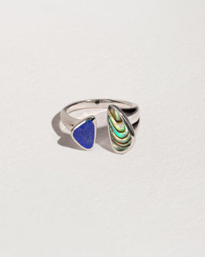 pilar inlay ring with sterling silver, lapis and abalone