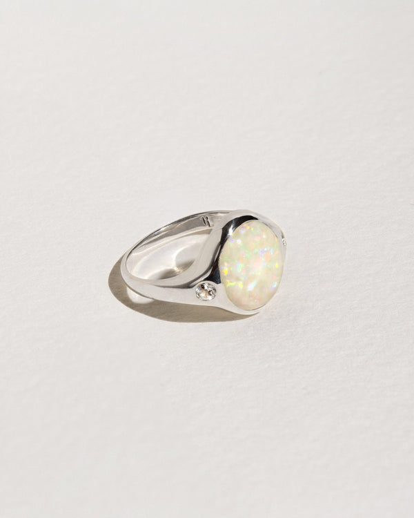essential ring with sterling silver, opal cabochon and white topaz