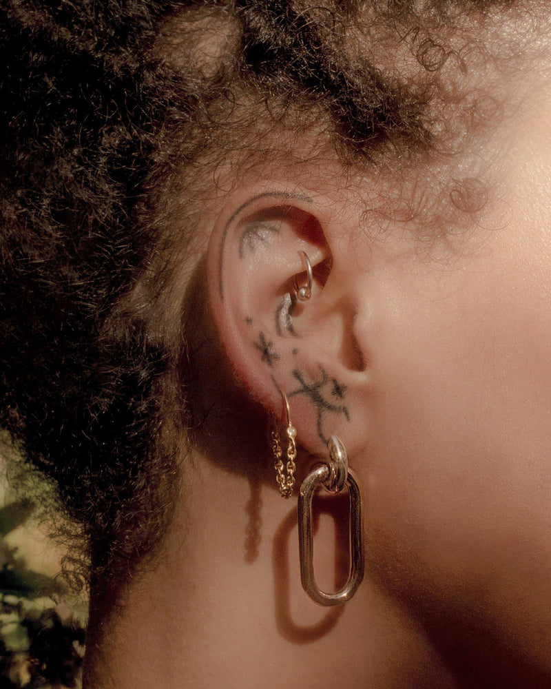 brass beaumont earrings by pamela love