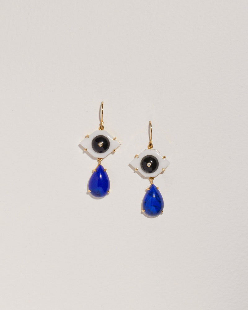 tri color drop eye earrings with lapis, onyx, white jade and white diamond