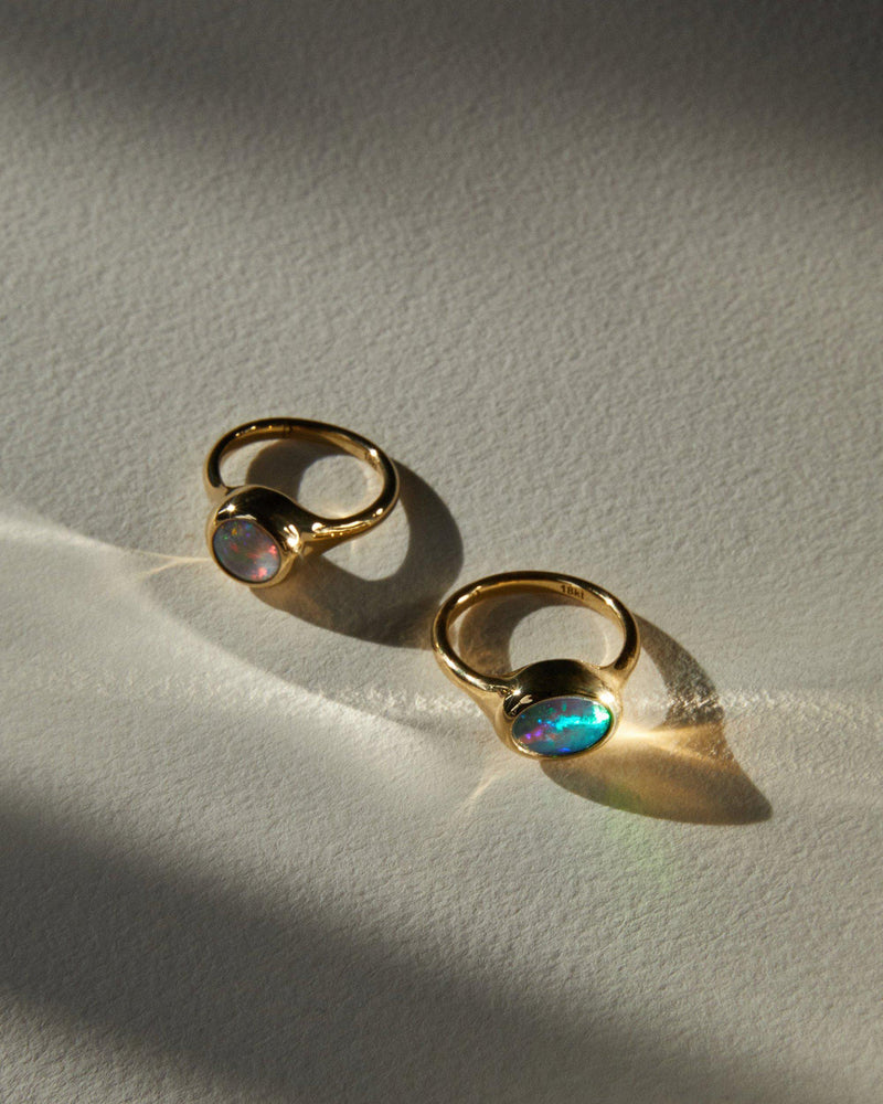 gold rings with opal stone
