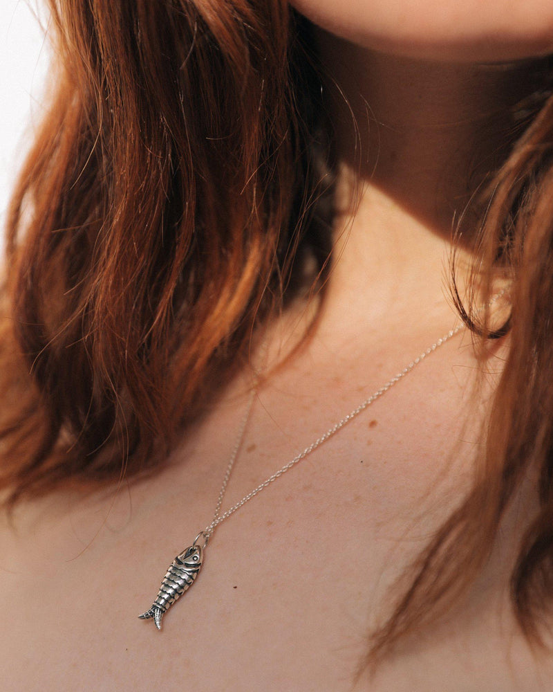 aegean pendant necklace on the model