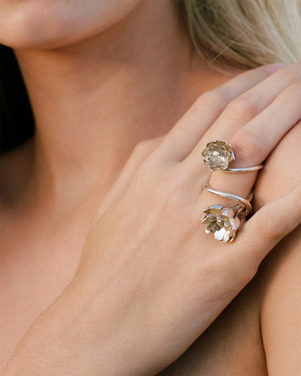 silver anemone flower rings by pamela love