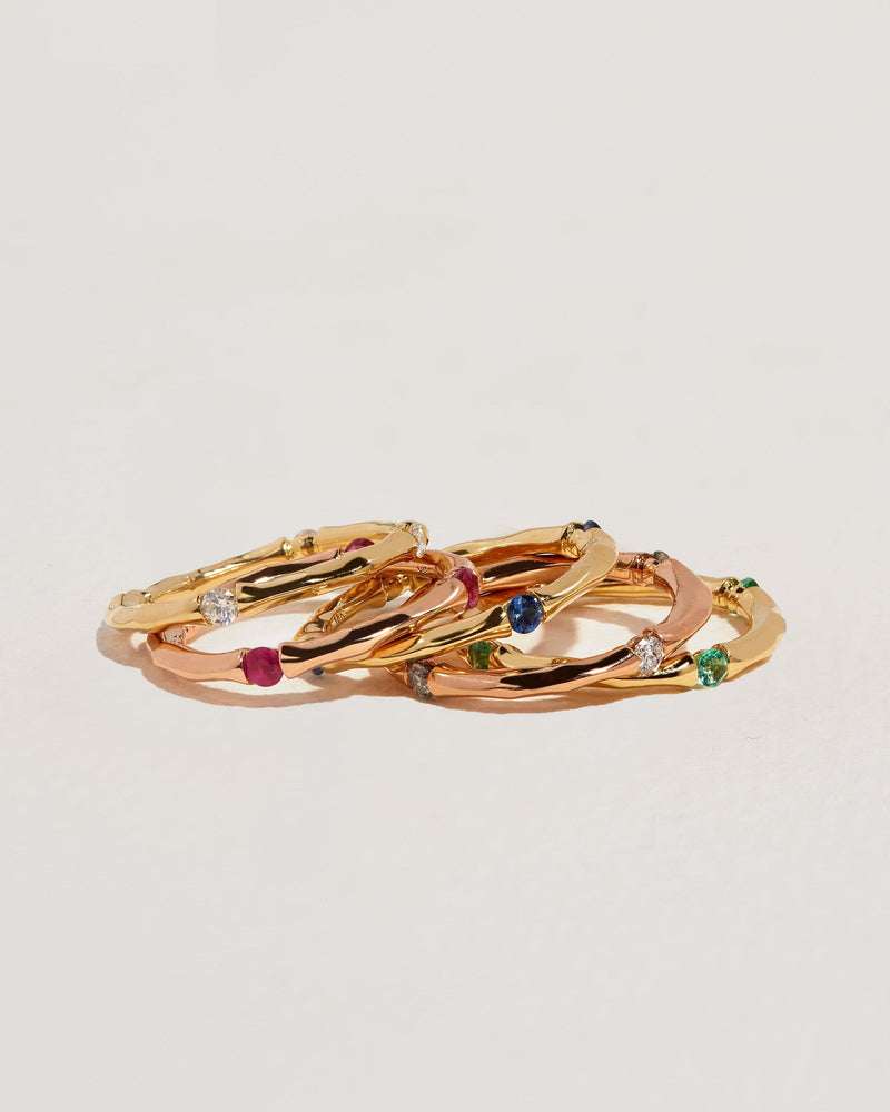 multi stone gold rings
