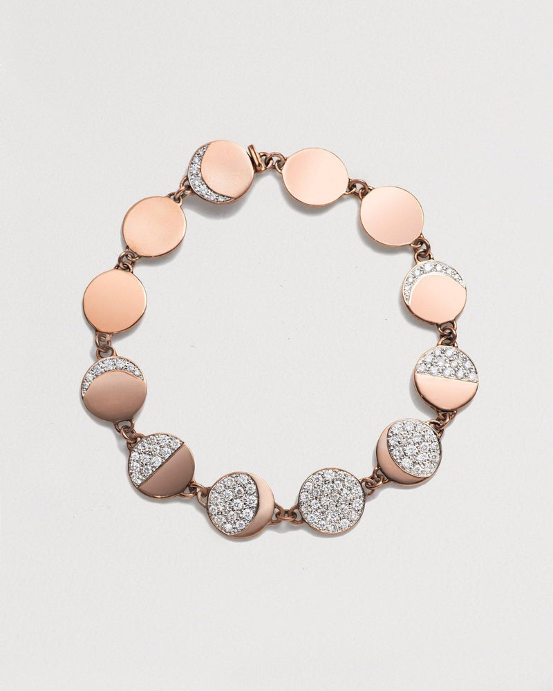 moon phase bracelet with 18k rose gold and diamonds