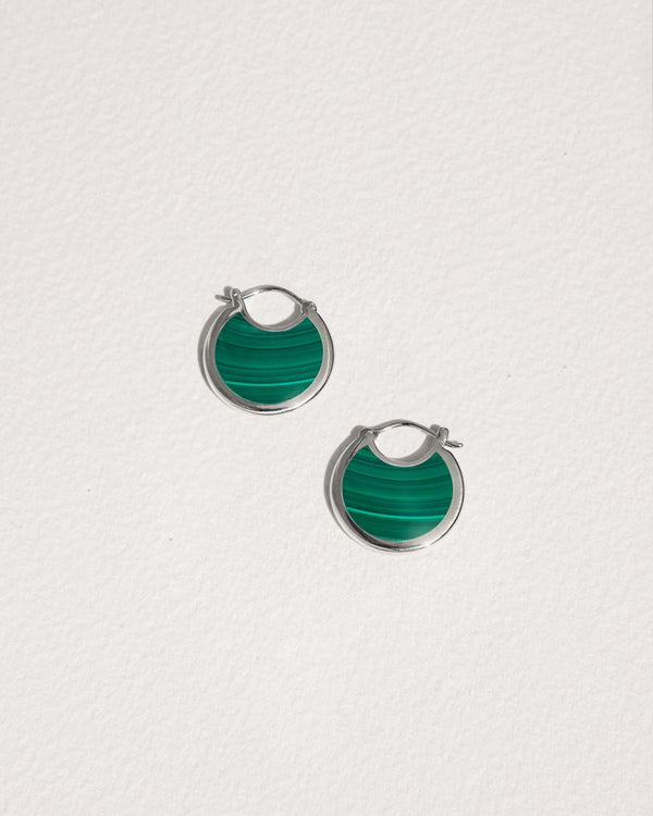 mojave hoop earrings with silver and malachite