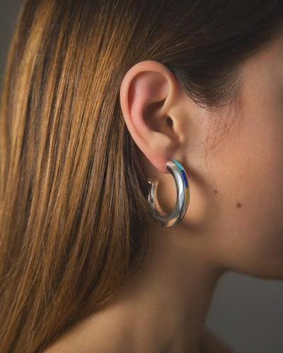turquoise inlay silver hoop earrings