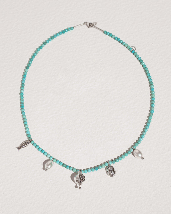 journey necklace with turquoise beads