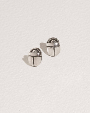 scarab stud earrings with sterling silver