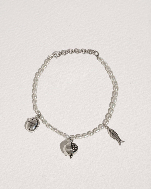 journey bracelet with multi charms, pearls and sterling silver