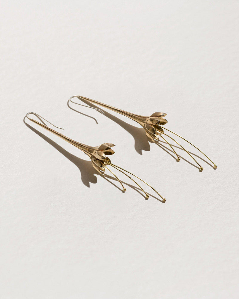anemone flower earrings with brass