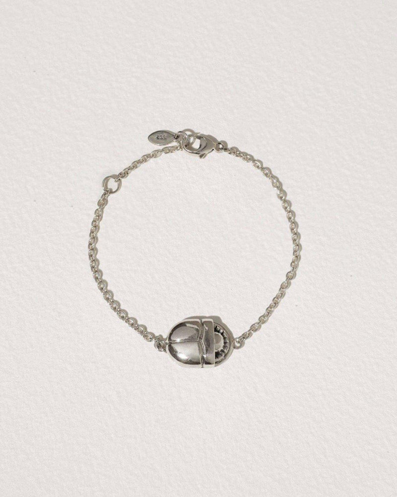 large scarab chain bracelet with sterling silver