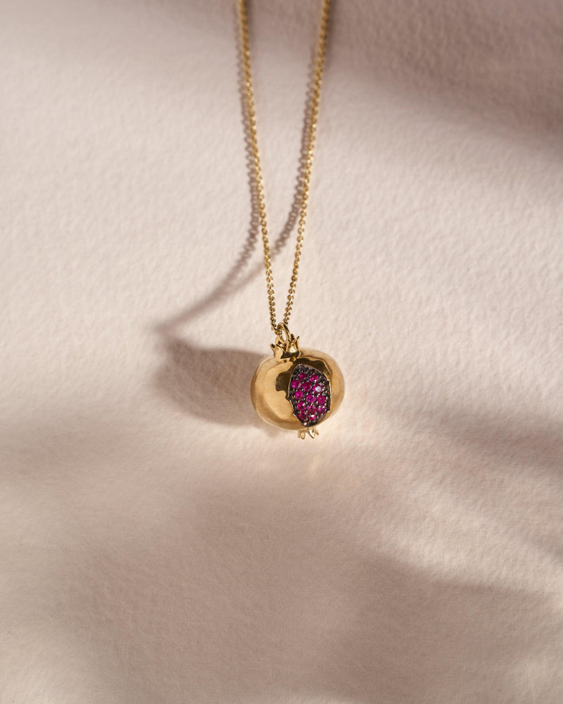 ruby pomegranate necklace with 18k yellow gold