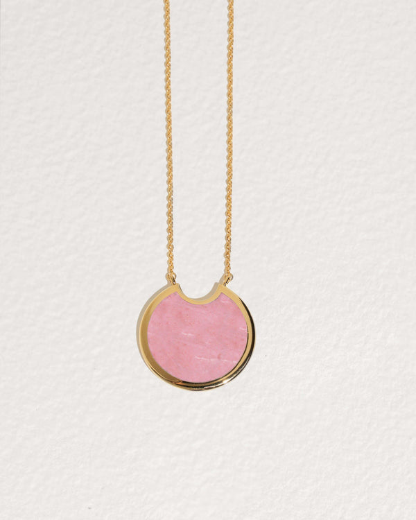 large mojave pendant necklace with pink opal