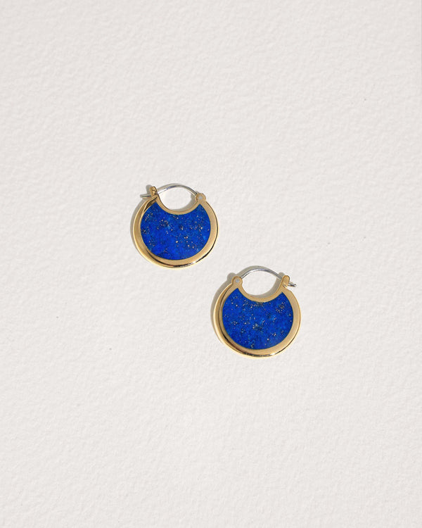 mojave brass hoop earrings with lapis lazuli