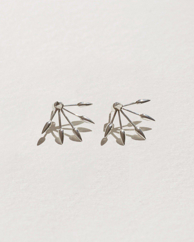 five spike earrings with Sterling Silver