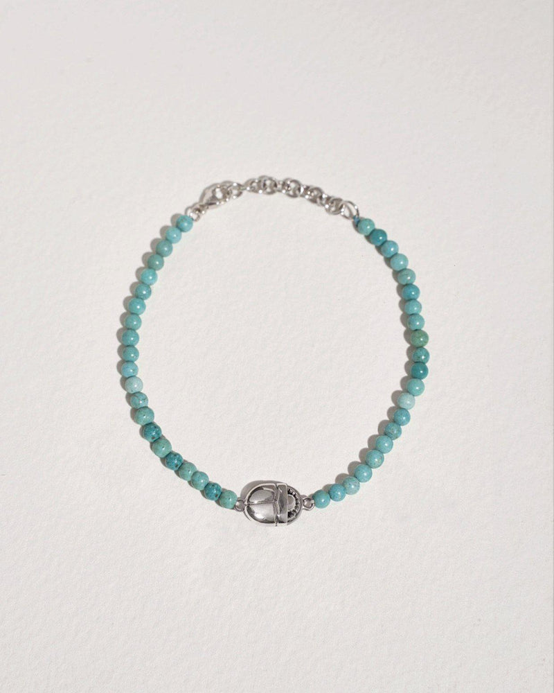 beaded scarab bracelet with turquoise and sterling silver