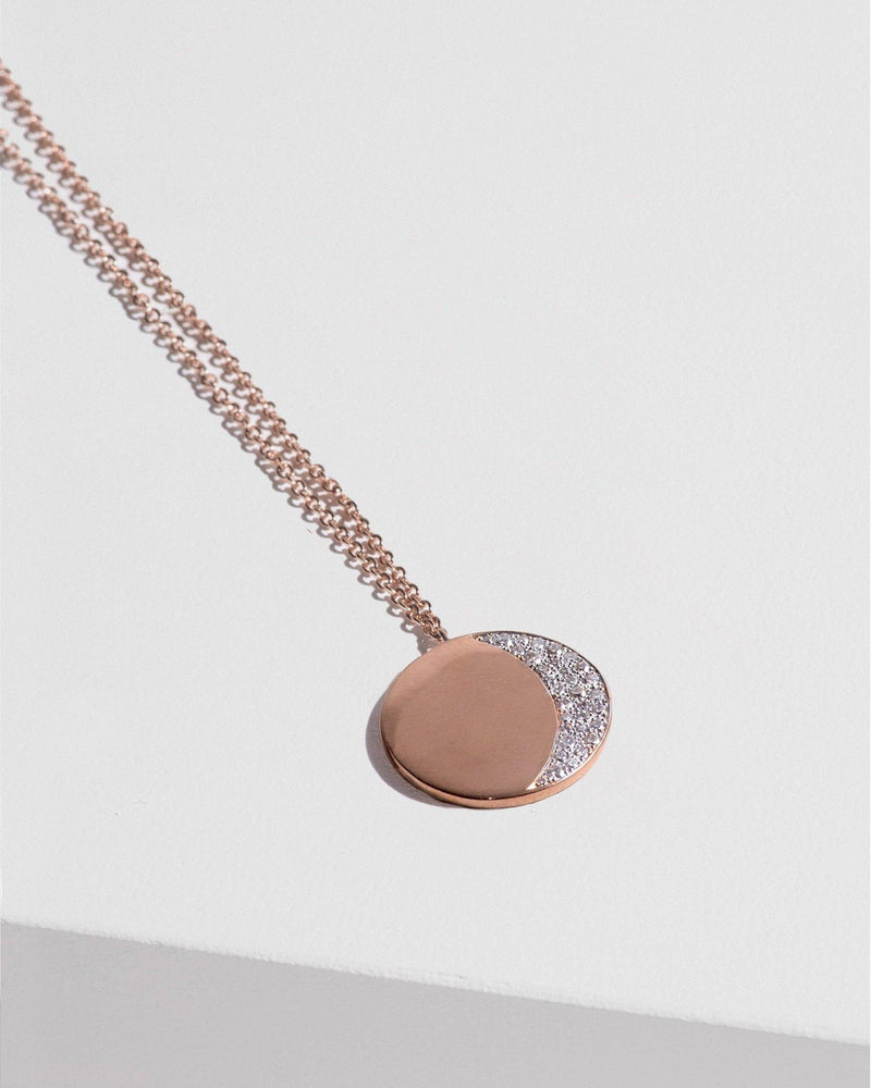 Large Pavé Moon Phase Pendant with Diamonds