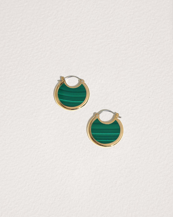 mojave hoop earrings with malachite