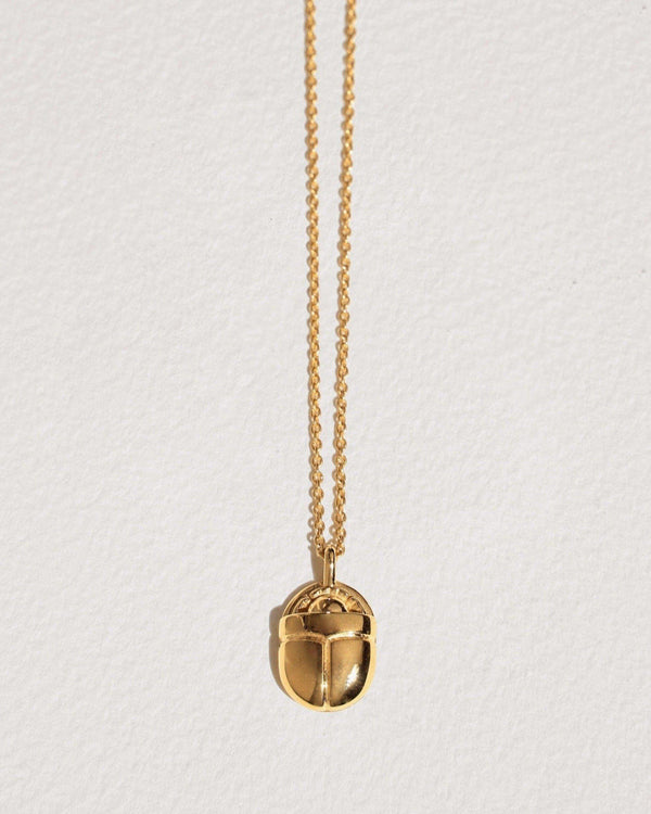 large scarab necklace with 14k yellow gold plate over brass