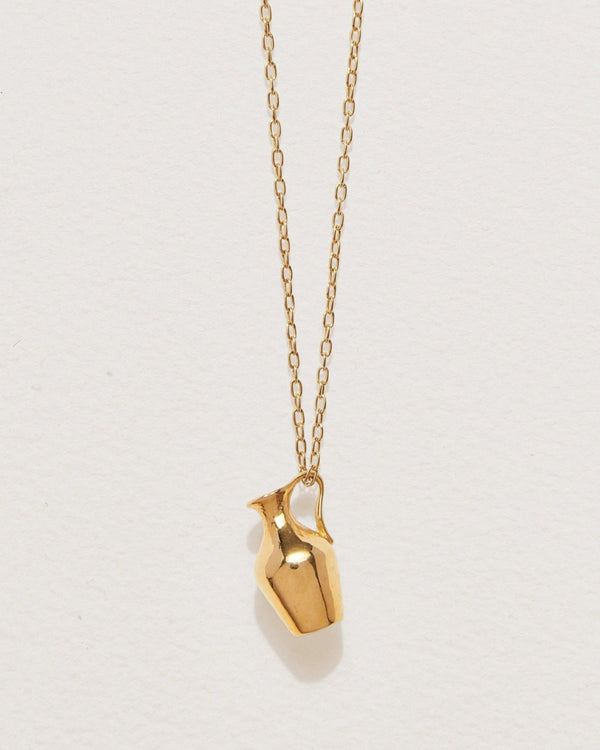 vessel pendant with 14k yellow gold plate over brass
