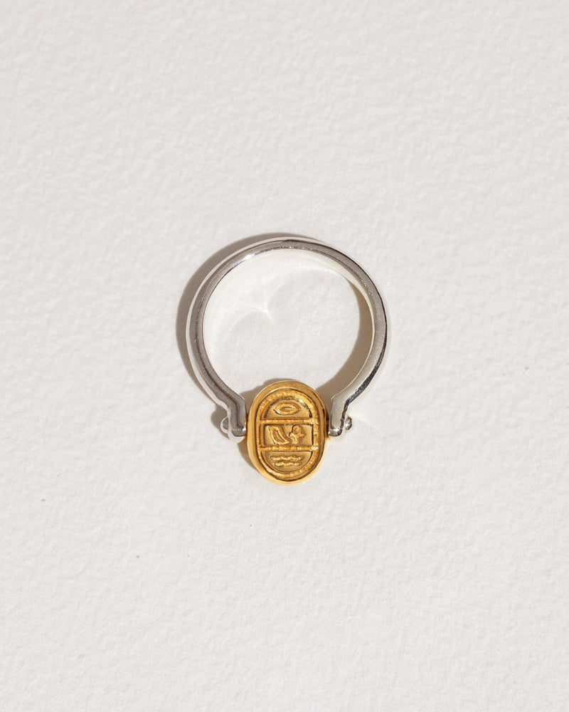 gold scarab silver ring