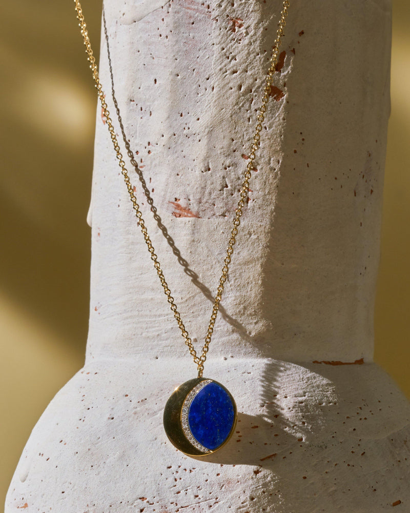 moon phase pendant with lapis lazuli and diamonds
