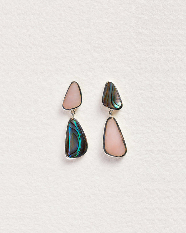 miro abalone and pink opal drop earrings
