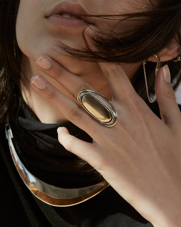 brass cabochon mood ring on the model