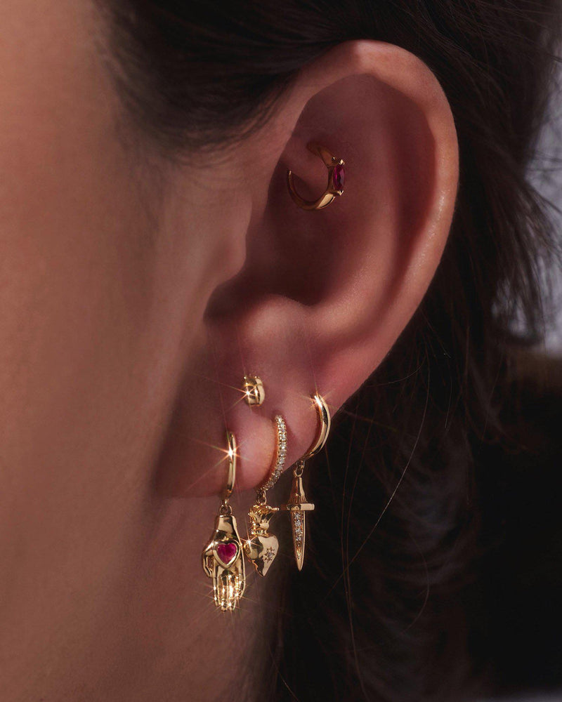 gold huggie earrings by pamela love